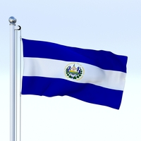 Animated El Salvador Flag 3D Model