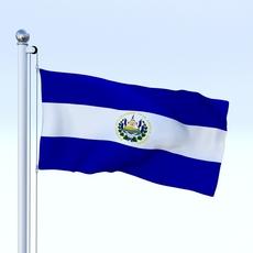 Animated El Salvador Flag 3D Model