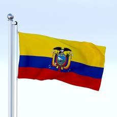 Animated Ecuador Flag 3D Model