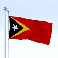 Animated East Timor Flag 3D Model