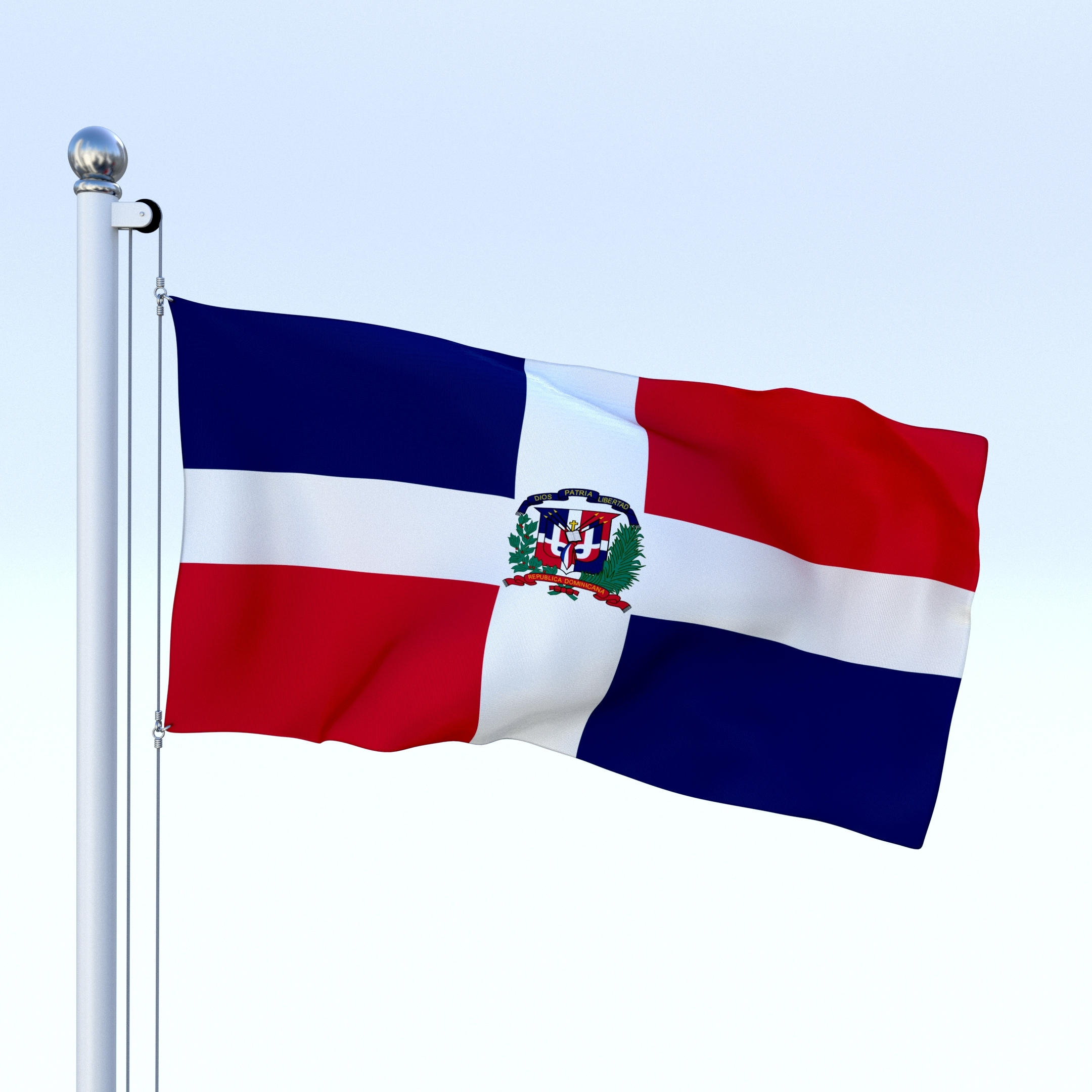 animated dominican republic flag 3d model