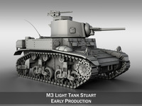 M3 US Light Tank Stuart 3D Model