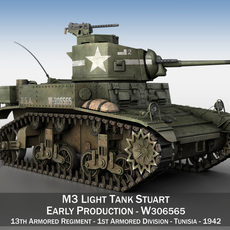 M3 Light Tank Stuart - W306565 3D Model