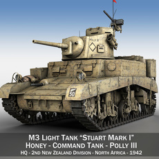 M3 Light Tank Honey - Polly III 3D Model