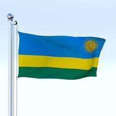 Animated Rwanda Flag 3D Model