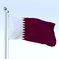 Animated Qatar Flag 3D Model