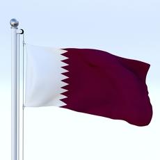 Animated Qatar Flag 3D Model