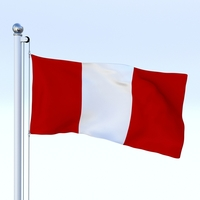 Animated Peru Flag 3D Model