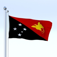 Animated Papua New Guinea Flag 3D Model