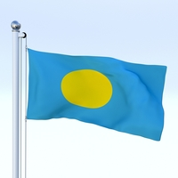 Animated Palau Flag 3D Model