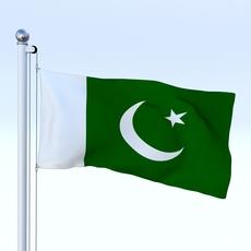 Animated Pakistan Flag 3D Model