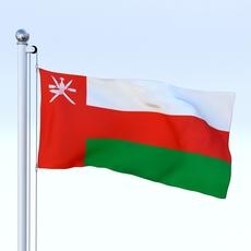 Animated Oman Flag 3D Model