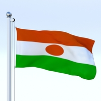Animated Niger Flag 3D Model