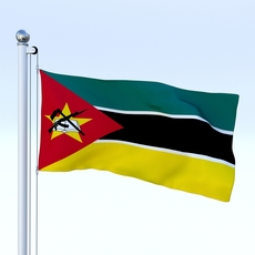 Animated Mozambique Flag 3D Model
