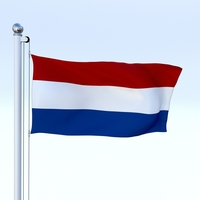 Animated Nederlands Flag 3D Model
