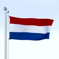 Animated Nederlands Flag 3D Model
