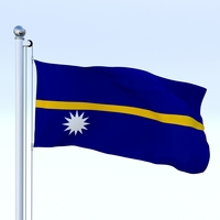 Animated Nauru Flag 3D Model