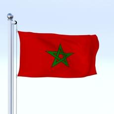 Animated Morocco Flag 3D Model