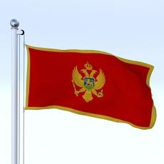 Animated Montenegro Flag 3D Model