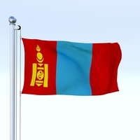 Animated Mongolia Flag 3D Model