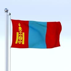 Animated Mongolia Flag 3D Model