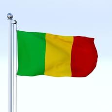 Animated Mali Flag 3D Model