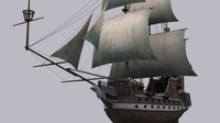 Low Poly Galeon sailboat warship 3D Model