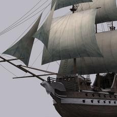 Low Poly Galeon sailboat warship 3D Model