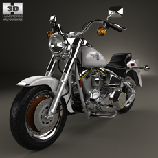 Harley-Davidson FLSTF Fat Boy 1990 motorcycle 3D Model