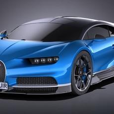 HQ LowPoly Bugatti Chiron 2017 3D Model