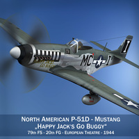 North American P-51D Mustang - Happy Jacks go Buggy 3D Model