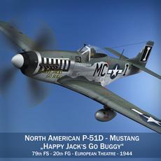 North American P-51D Mustang - Happy Jacks go Buggy 3D Model