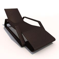 Sun Lounger - Rattan 3D Model