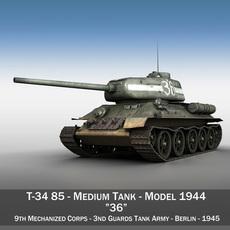 T-34 85 - Soviet medium tank - 36 3D Model