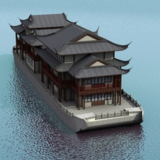Chinese Houseboat 3D Model