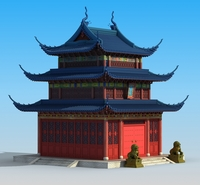 Ancient Chinese temple 3D Model