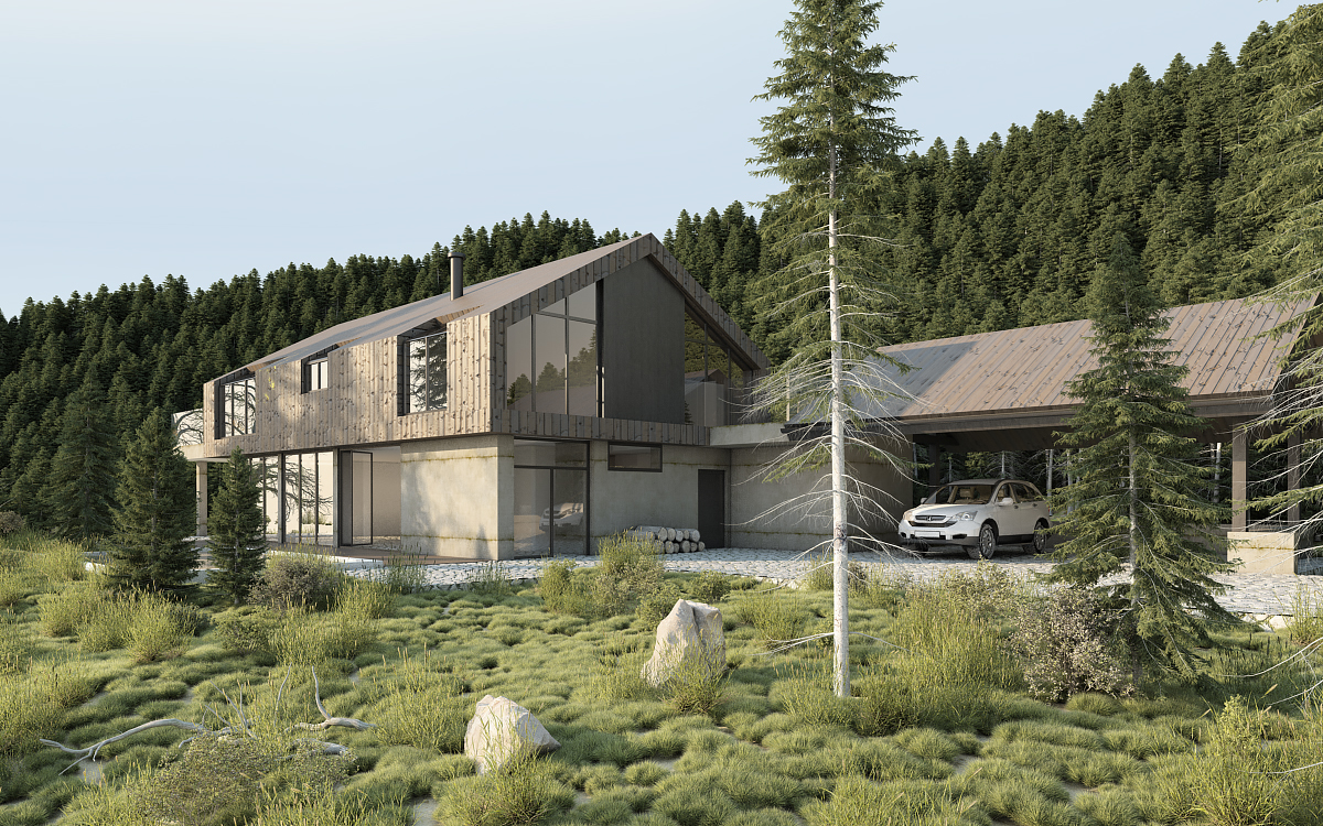 Vray exterior lighting daylight settings rendering forest scene 3d model - Painting exterior render model ...