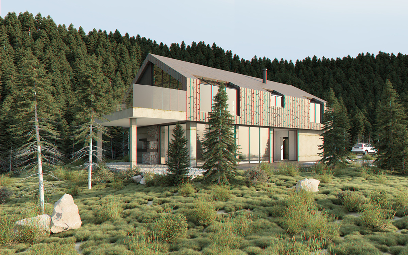 Vray exterior lighting daylight settings rendering forest scene 3d model for Setting render vray sketchup exterior