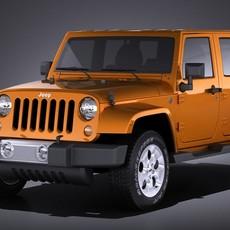 Jeep Wrangler Unlimited Sahara 2015 VRAY 3D Model