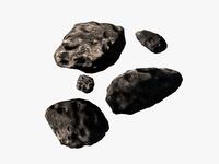 Low poly asteroids 3D Model