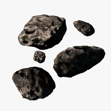 Low poly asteroids 3D Model