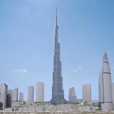 Burj Khalifa Dubai Downtown 3D Model