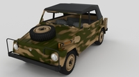 VW Type 181 Army with interior top up 3D Model