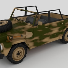 VW Type 181 with interior Army 3D Model