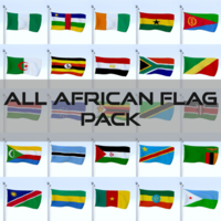 All African Flag Pack 3D Model