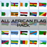 All African Flag Pack 3D Model