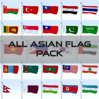 All Asian Flag Pack 3D Model