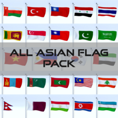 All Asian Flag Pack 3D Model