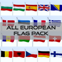 All European Flag Pack 3D Model