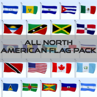 All North American Flag Pack 3D Model